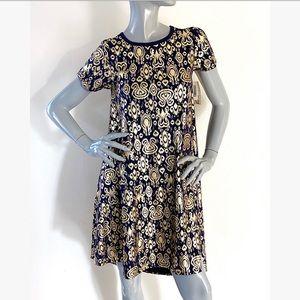 NEW LulaRoe Gold & Navy High-Low Swing Dress